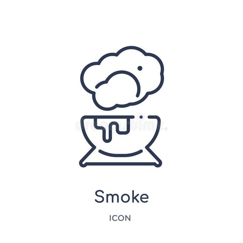 Liniowa dymna ikona od Magicznej kontur kolekcji Cienka linia dymu ikona odizolowywająca na białym tle dymna modna ilustracja ilustracja wektor