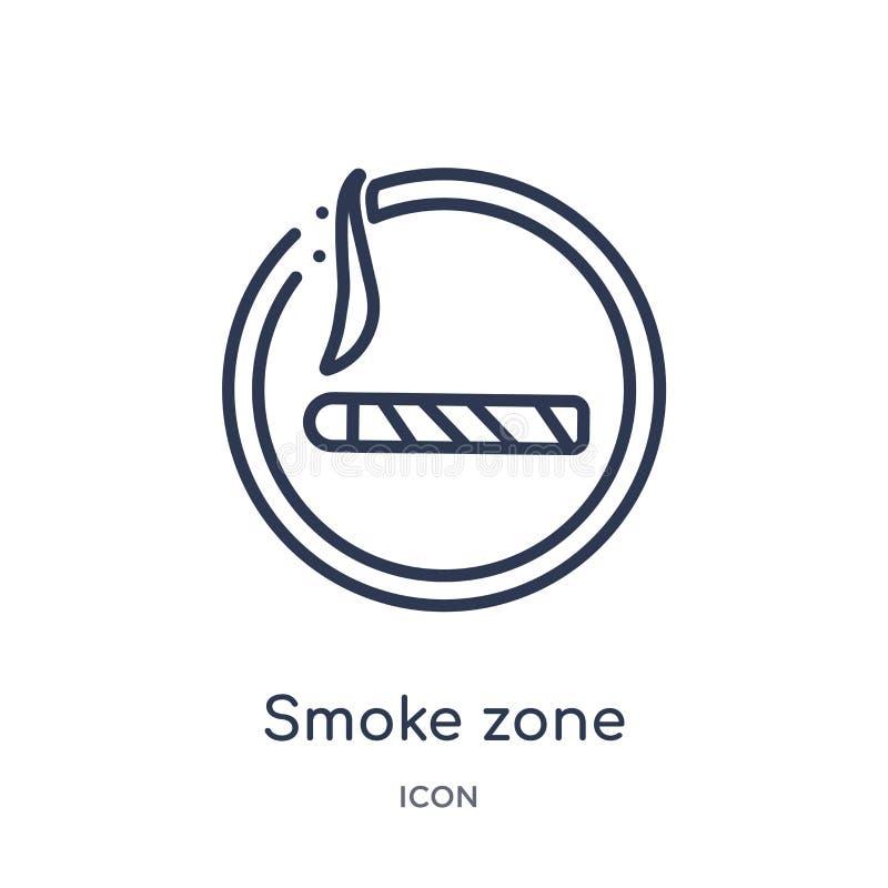 Liniowa dymna strefy ikona od map i flagi zarysowywamy kolekcję Cienka linia dymu strefy ikona odizolowywająca na białym tle dymn ilustracja wektor