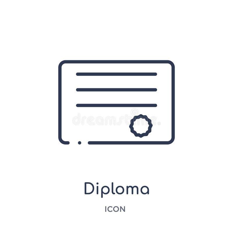 Liniowa dyplom ikona od edukacja konturu kolekcji Cienieje kreskowego dyplomu wektor odizolowywającego na białym tle dyplom modny ilustracji
