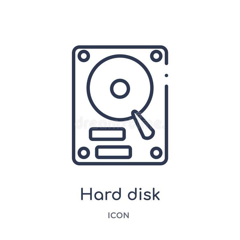 Liniowa dysk twardy ikona od urządzenie elektroniczne konturu kolekcji Cienieje kreskowego dyska twardego wektor odizolowywająceg ilustracja wektor