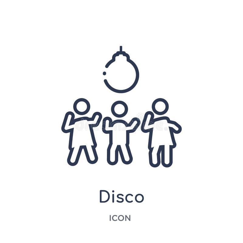 Liniowa dyskoteki ikona od Discotheque konturu kolekcji Cienieje kreskowego dyskoteka wektor odizolowywającego na białym tle dysk ilustracji