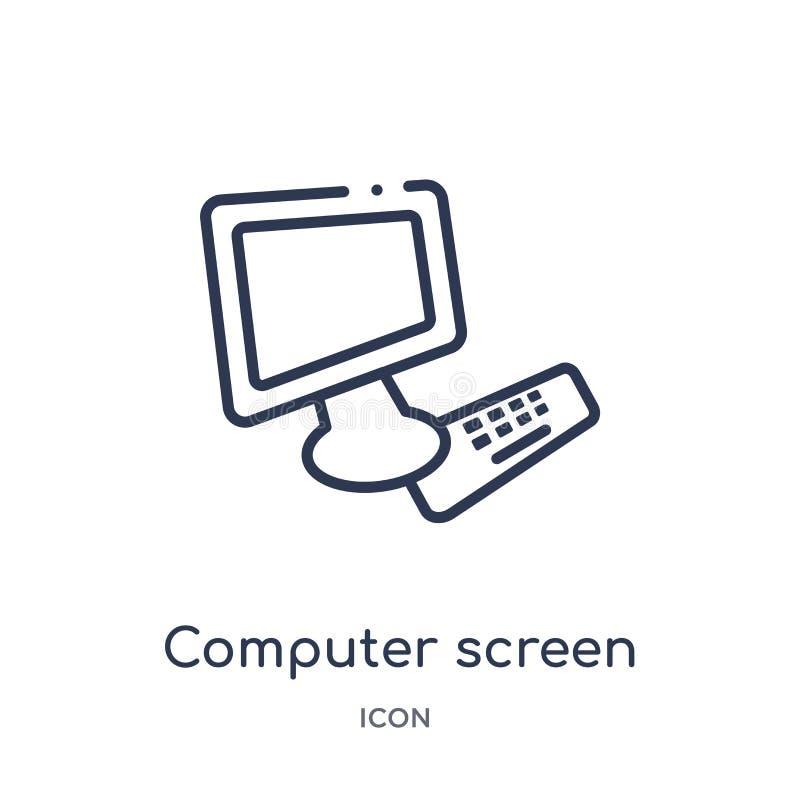 Liniowa ekran komputerowy ikona od Redaguje kontur kolekcję Cienieje kreskowego ekranu komputerowego wektor odizolowywającego na  royalty ilustracja