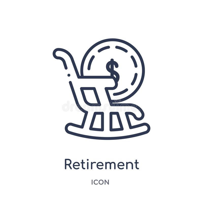 Liniowa emerytury ikona od Asekuracyjnej kontur kolekcji Cienieje kreskową emerytury ikonę odizolowywającą na białym tle Emerytur royalty ilustracja