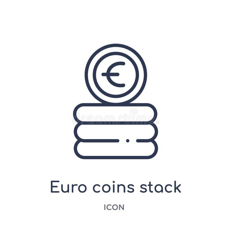 Liniowa euro monety sterty ikona od Biznesowej kontur kolekcji Cienkie kreskowe euro monety brogują ikonę odizolowywającą na biał ilustracja wektor