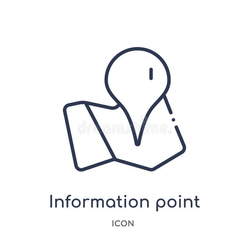 Liniowa ewidencyjna punkt ikona od map i lokacja zarysowywamy kolekcję Cienka kreskowa ewidencyjna punkt ikona odizolowywająca na ilustracja wektor