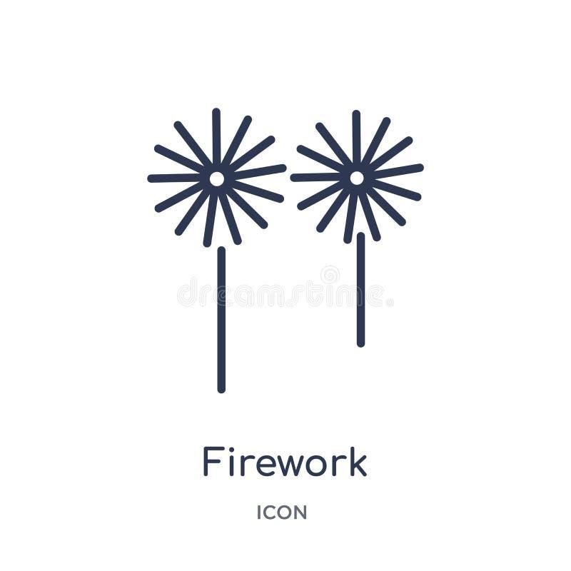 Liniowa fajerwerk ikona od przyjęcie urodzinowe konturu kolekcji Cienieje kreskowego fajerwerku wektor odizolowywającego na biały ilustracji