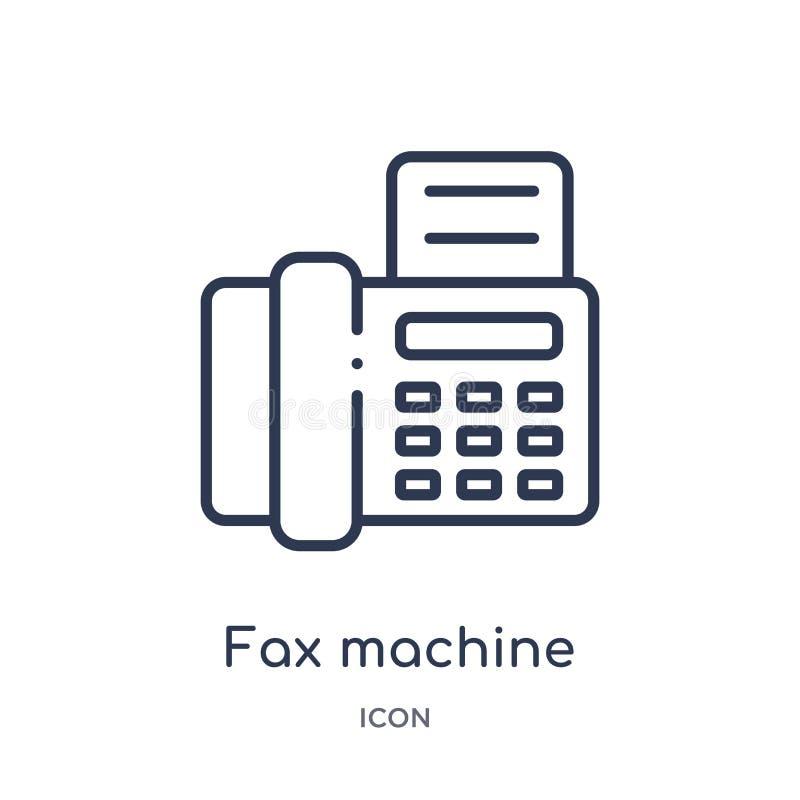 Liniowa faks maszyny ikona od urządzeń elektronicznych zarysowywa kolekcję Cienieje kreskowego faks maszyny wektor odizolowywając ilustracja wektor