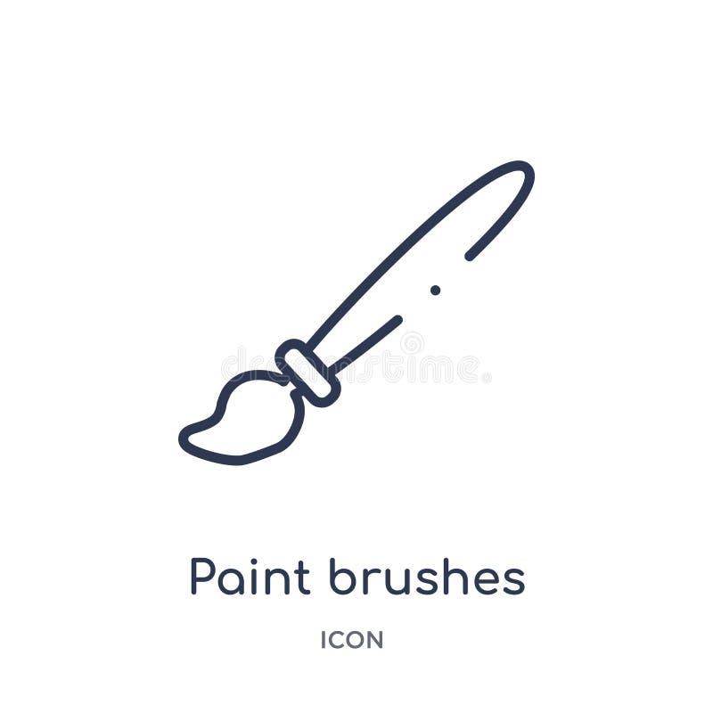 Liniowa farb muśnięć ikona od sztuka konturu kolekcji Cienieje kreskową farb muśnięć ikonę odizolowywającą na białym tle muśnięć  ilustracji