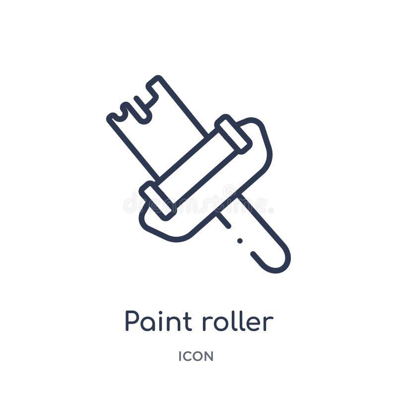 Liniowa farba rolownika ikona od budów narzędzi zarysowywa kolekcję Cienieje kreskowego farba rolownika wektor odizolowywającego  ilustracja wektor