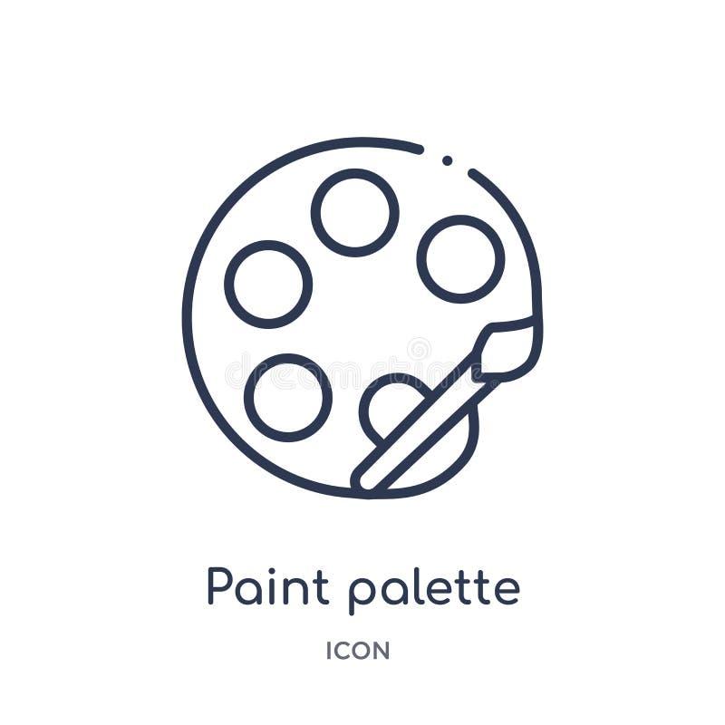 Liniowa farby palety ikona od edukacja konturu kolekcji Cienki kreskowy farby palety wektor odizolowywający na białym tle farba ilustracja wektor