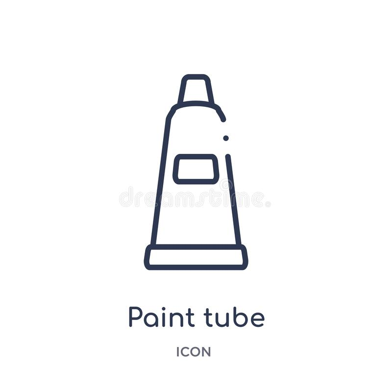 Liniowa farby tubki ikona od edukacja konturu kolekcji Cienki kreskowy farby tubki wektor odizolowywający na białym tle farby rur ilustracji