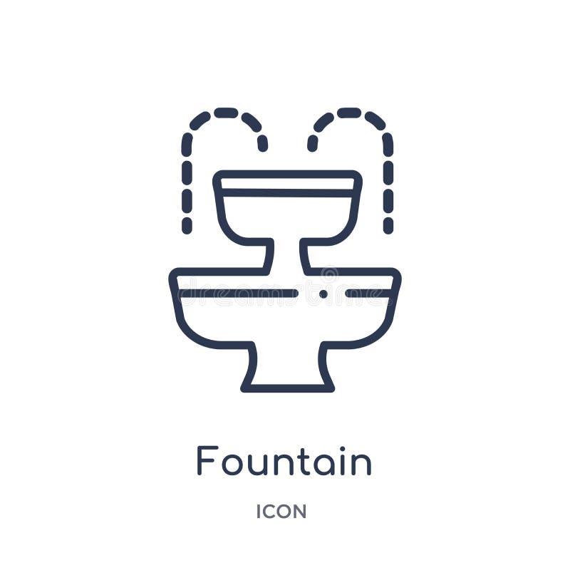 Liniowa fontanny ikona od miasto elementów zarysowywa kolekcję Cienieje kreskowego fontanna wektor odizolowywającego na białym tl ilustracja wektor