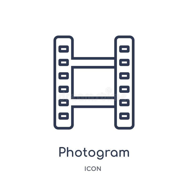 Liniowa fotogram ikona od Elektronicznej materiał pełni konturu kolekcji Cienieje kreskowego fotograma wektor odizolowywającego n royalty ilustracja