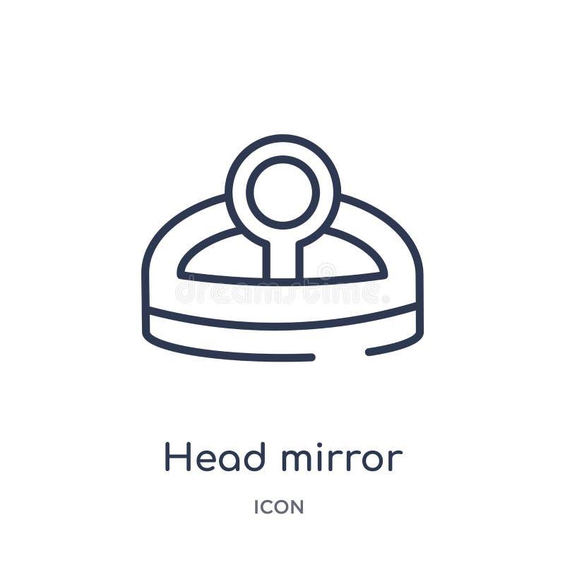 Liniowa głowy lustra ikona od Ogólnego konturu kolekcji Cienka linii głowy lustra ikona odizolowywająca na białym tle Kierowniczy royalty ilustracja