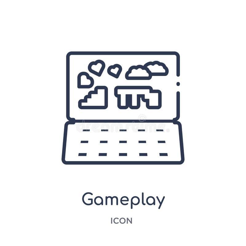 Liniowa gameplay ikona od Blogger i influencer zarysowywamy kolekcję Cienieje kreskowego gameplay wektor odizolowywającego na bia ilustracja wektor