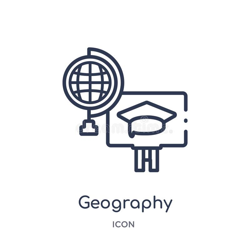 Liniowa geografii ikona od Elearning i edukacja zarysowywamy kolekcję Cienieje kreskowego geografia wektor odizolowywającego na b ilustracji