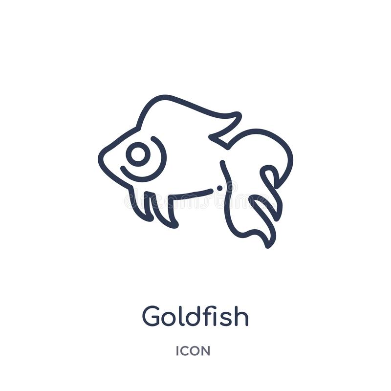 Liniowa goldfish ikona od zwierzę konturu kolekcji Cienieje kreskową goldfish ikonę odizolowywającą na białym tle goldfish modny ilustracja wektor
