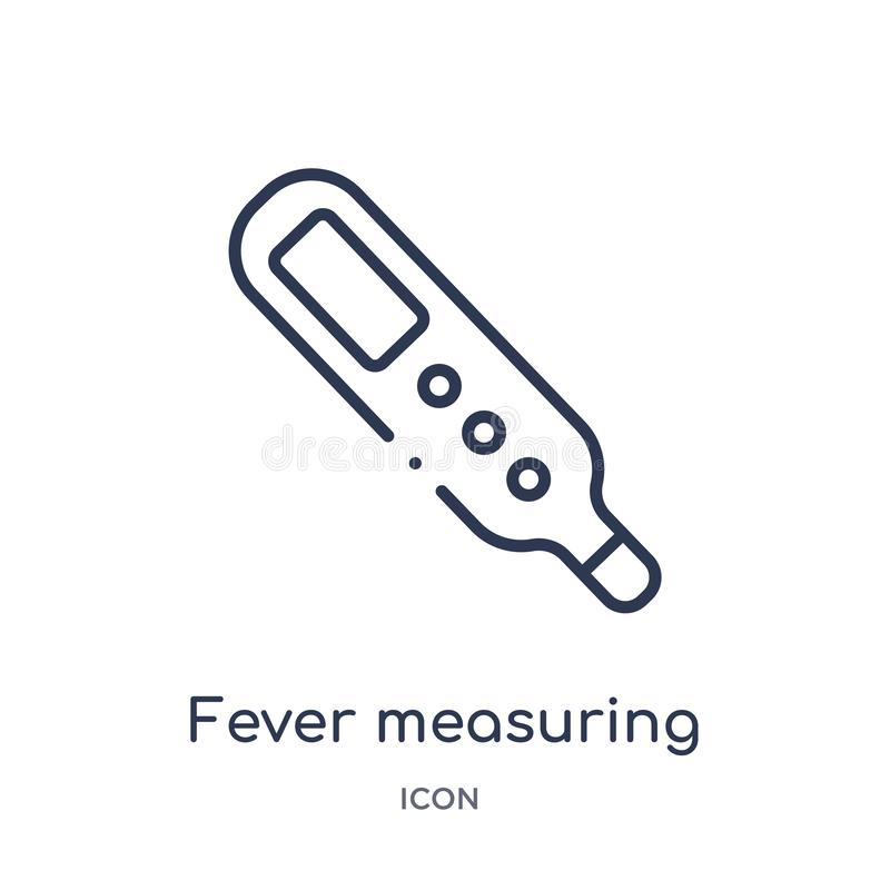 Liniowa gorączkowa pomiarowa ikona od pomiaru konturu kolekcji Cienieje kreskową gorączkową pomiarową ikonę odizolowywającą na bi ilustracja wektor