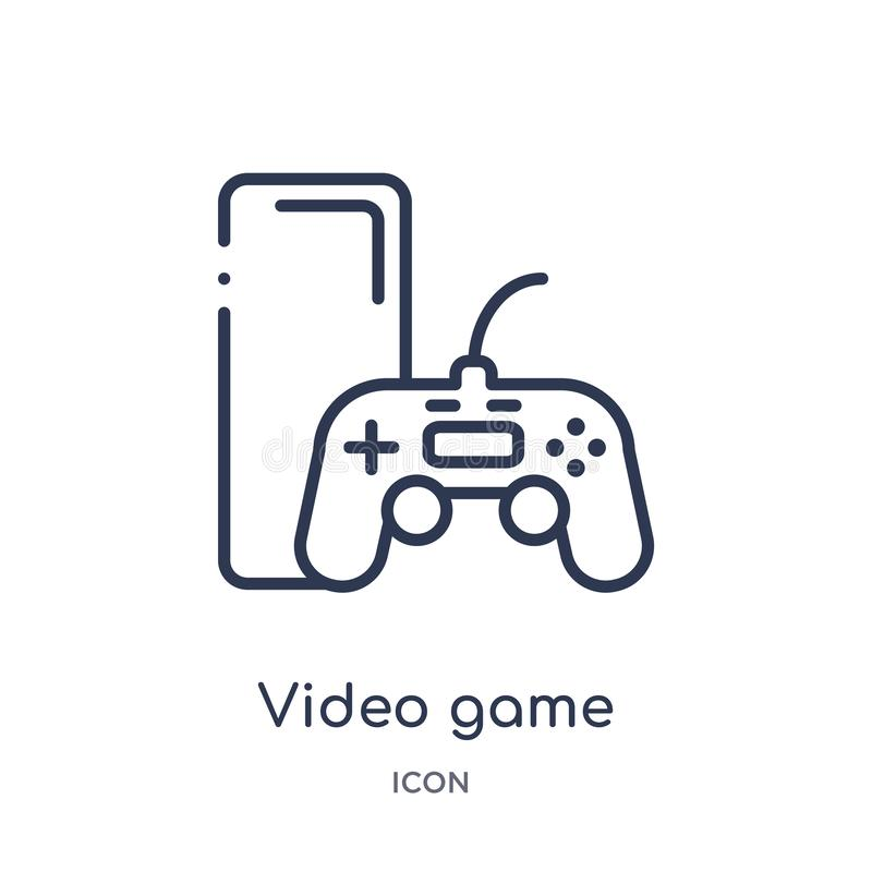 Liniowa gra wideo ikona od rozrywki i arkada zarysowywamy kolekcję Cienieje kreskowego gra wideo wektor odizolowywającego na biał royalty ilustracja