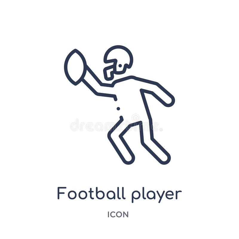 Liniowa gracz futbolu ikona od futbolu amerykańskiego konturu kolekcji Cienieje kreskowego gracz futbolu wektor odizolowywającego royalty ilustracja