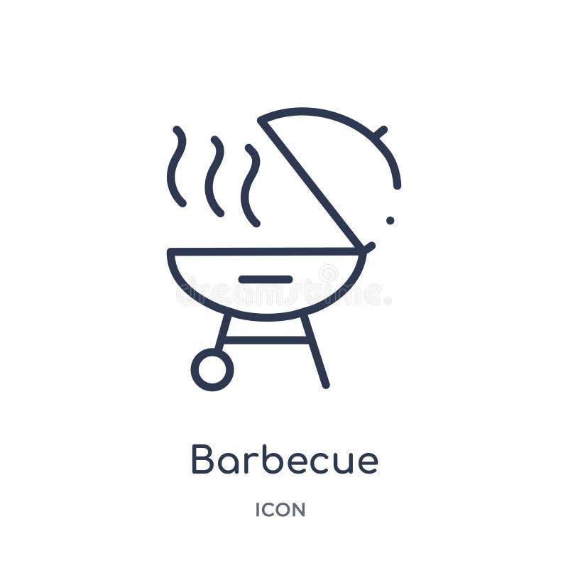 Liniowa grill ikona od futbolu amerykańskiego konturu kolekcji Cienieje kreskowego grilla wektor odizolowywającego na białym tle  ilustracji