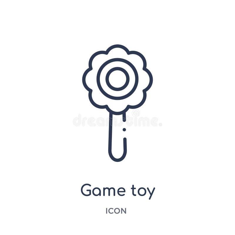 Liniowa gry zabawki ikona od rozrywki i arkada zarysowywamy kolekcję Cienki kreskowy gry zabawki wektor odizolowywający na białym ilustracja wektor