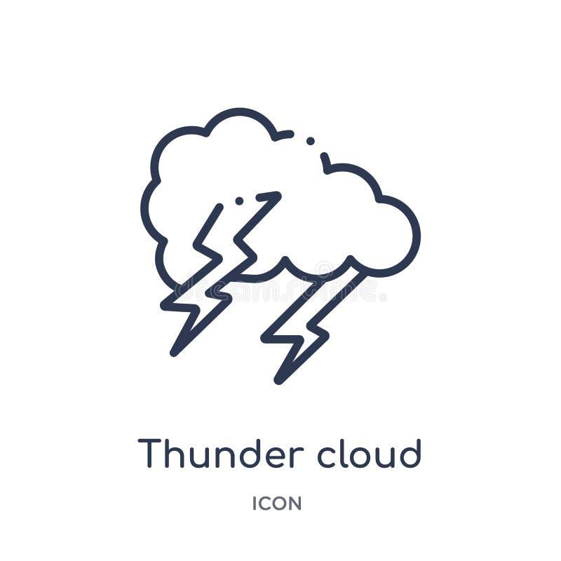 Liniowa grzmot chmury ikona od meteorologia konturu kolekcji Cienieje kreskową grzmot chmury ikonę odizolowywającą na białym tle  ilustracja wektor