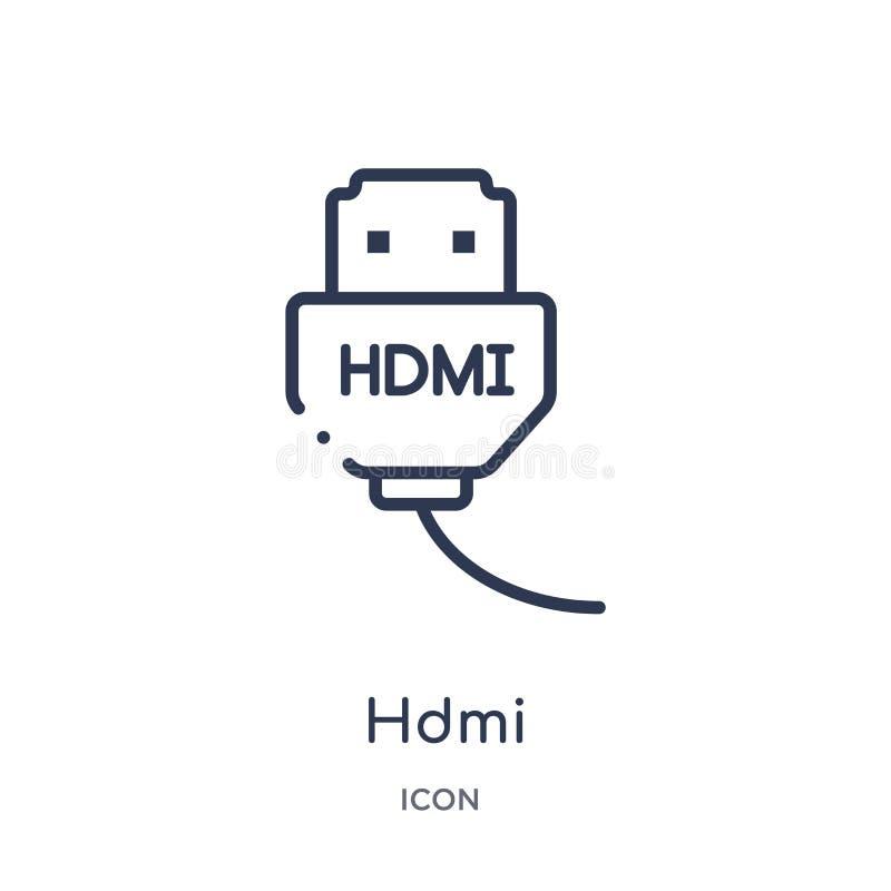 Liniowa hdmi ikona od urządzenie elektroniczne konturu kolekcji Cienieje kreskowego hdmi wektor odizolowywającego na białym tle h royalty ilustracja