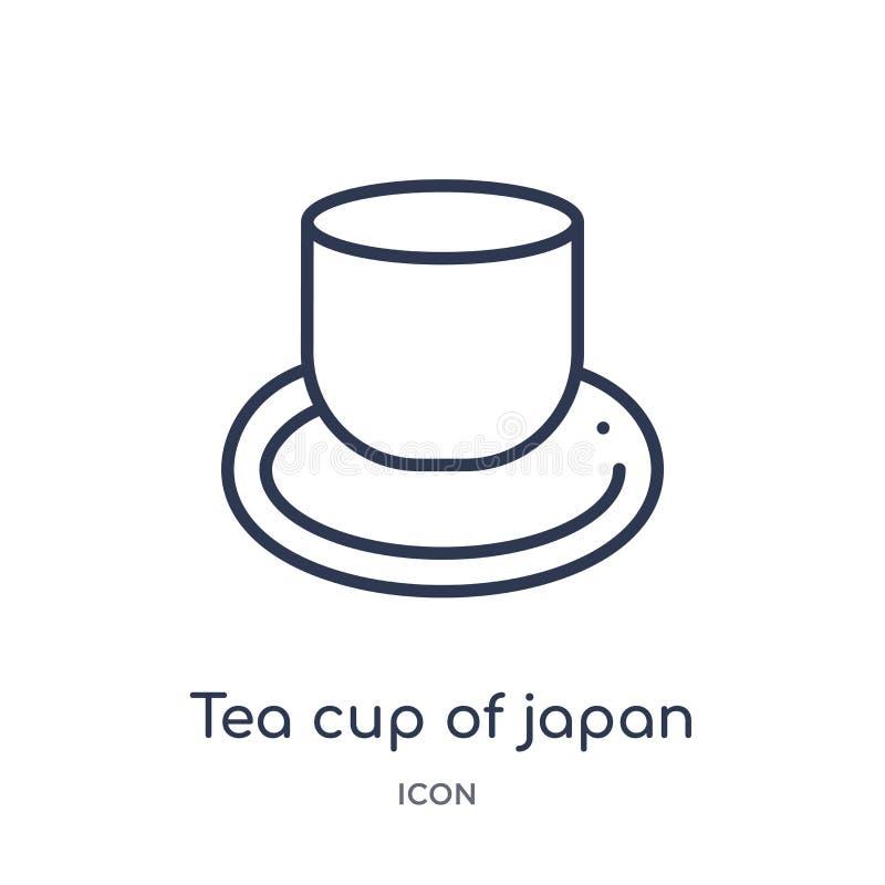 Liniowa herbaciana filiżanka Japan ikona od Karmowej kontur kolekcji Cienieje kreskową herbacianą filiżankę odizolowywającą na bi ilustracja wektor