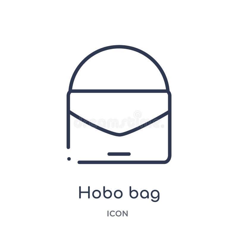 Liniowa hobo torby ikona od ubrań zarysowywa kolekcję Cienki kreskowy hobo torby wektor odizolowywający na białym tle hobo torba  ilustracja wektor