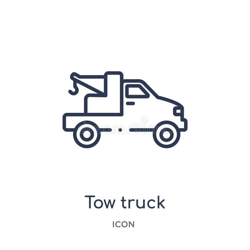Liniowa holowniczej ciężarówki ikona od budowa konturu kolekcji Cienieje kreskowego holowniczej ciężarówki wektor odizolowywające ilustracji