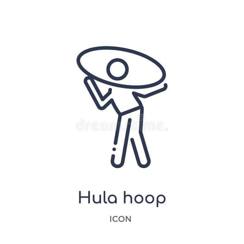 Liniowa hula obręcza ikona od hobby i czas wolny zarysowywamy kolekcję Cienieje kreskową hula obręcza ikonę odizolowywającą na bi ilustracji