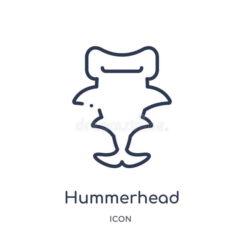 Liniowa hummerhead ikona od zwierzę konturu kolekcji Cienieje kreskową hummerhead ikonę odizolowywającą na białym tle hummerhead  royalty ilustracja