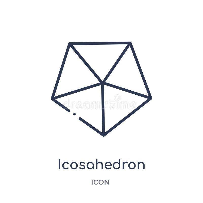 Liniowa icosahedron ikona od geometria konturu kolekcji Cienieje kreskową icosahedron ikonę odizolowywającą na białym tle icosahe royalty ilustracja