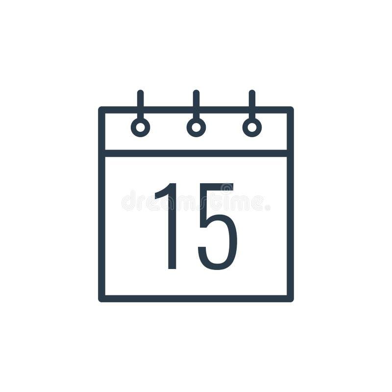 Liniowa ikona fifteenth dzień kalendarz ilustracja wektor
