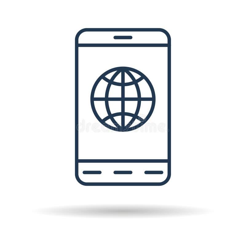 Liniowa ikona - Mądrze telefon z połączenie z internetem royalty ilustracja