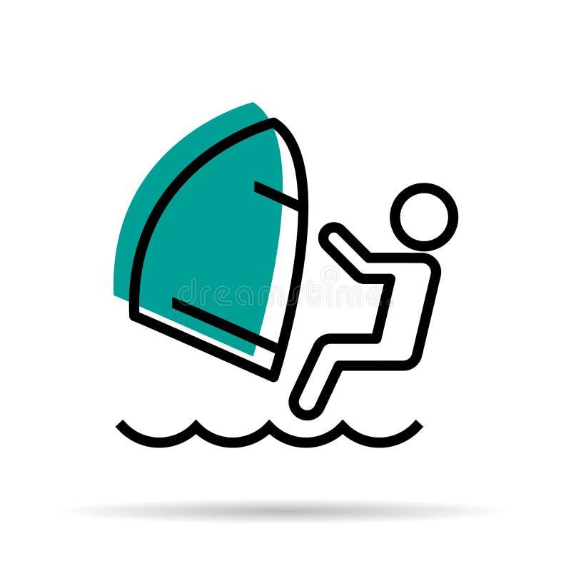 Liniowa ikona - Windsurfer ilustracji