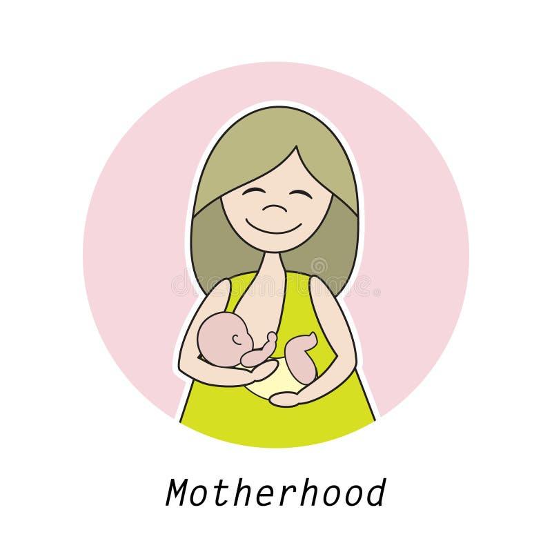 Liniowa ilustracja matka z dzieckiem royalty ilustracja