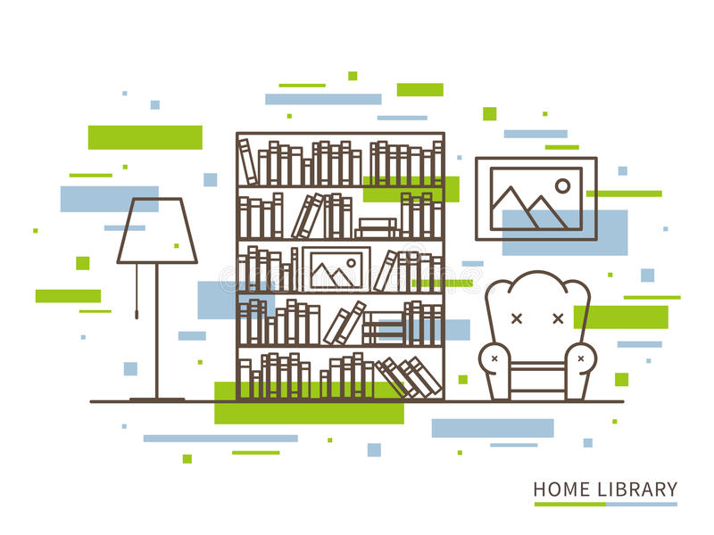 Liniowa ilustracja nowożytna projektant domowej biblioteki wnętrza przestrzeń royalty ilustracja
