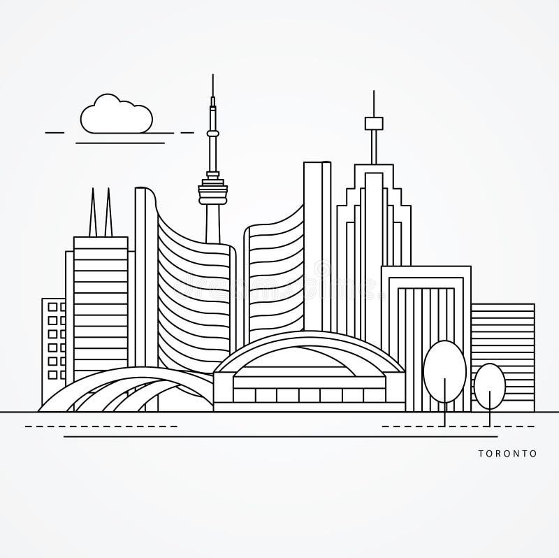 Liniowa ilustracja Toronto, Kanada Mieszkania jeden kreskowy styl Modna wektorowa ilustracja ilustracja wektor