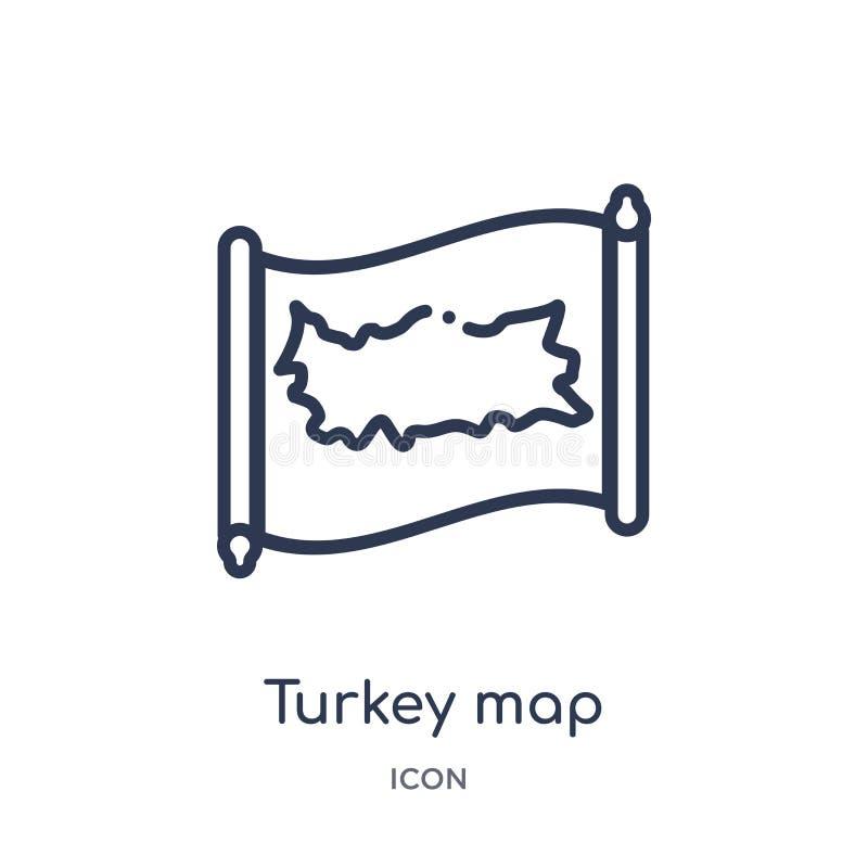 Liniowa indycza mapy ikona od Countrymaps konturu kolekcji Cienki kreskowy indyczy mapa wektor odizolowywający na białym tle Indy ilustracja wektor