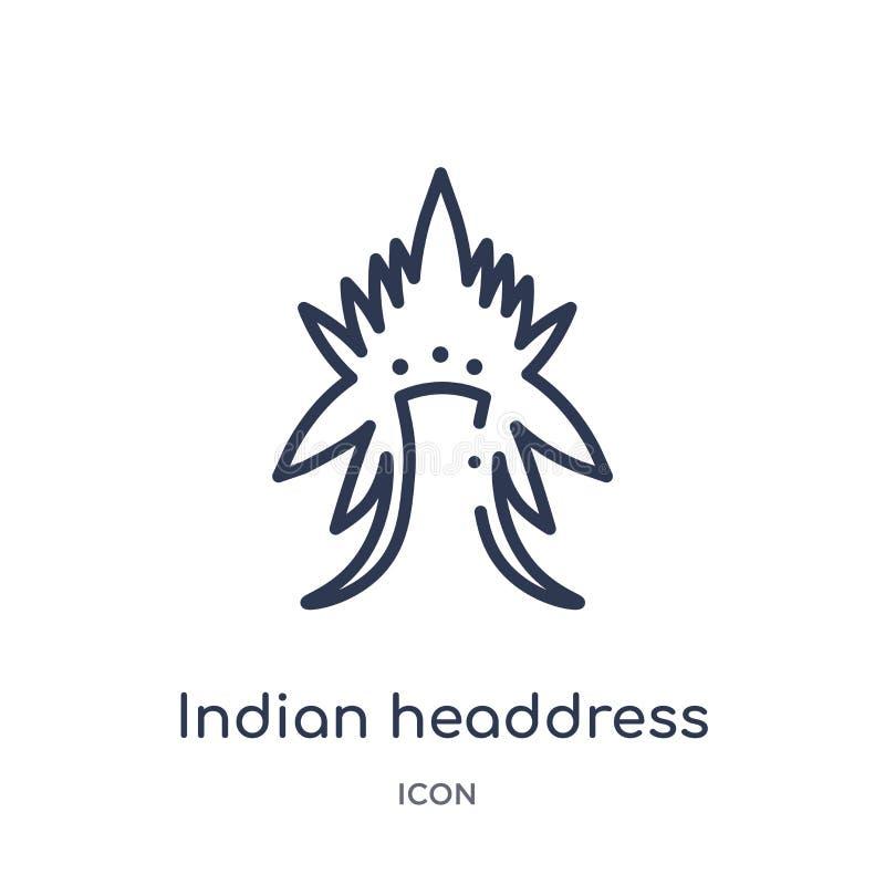 Liniowa indyjska pióropusz ikona od kultura konturu kolekcji Cienieje kreskowego indyjskiego pióropuszu wektor odizolowywającego  ilustracja wektor
