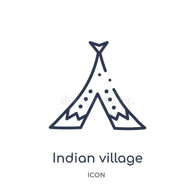 Liniowa indyjska wioski ikona od kultura konturu kolekcji Cienieje kreskowego indyjskiego wioska wektor odizolowywającego na biał ilustracji