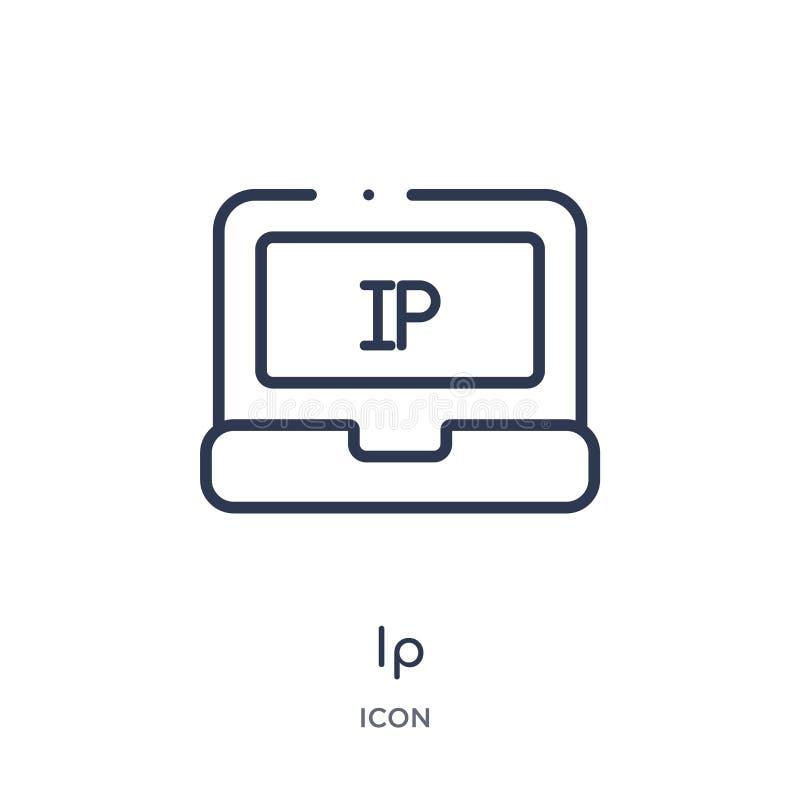Liniowa ip ikona od Sztucznej inteligencji konturu kolekcji Cienieje kreskowego ip wektor odizolowywającego na białym tle ip modn ilustracja wektor