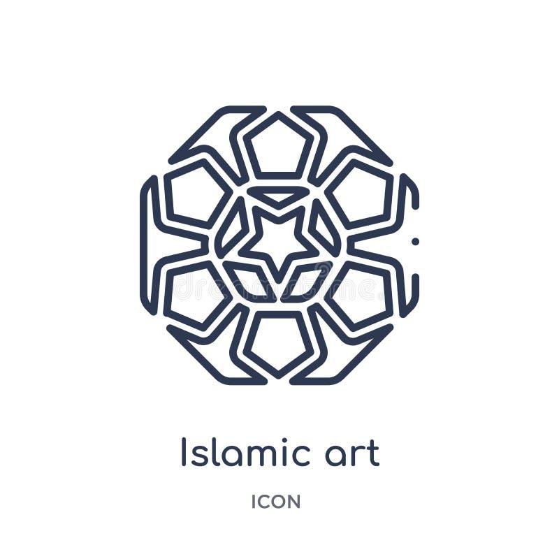 Liniowa islamska sztuki ikona od sztuka konturu kolekcji Cienieje kreskową islamską sztuki ikonę odizolowywającą na białym tle is royalty ilustracja