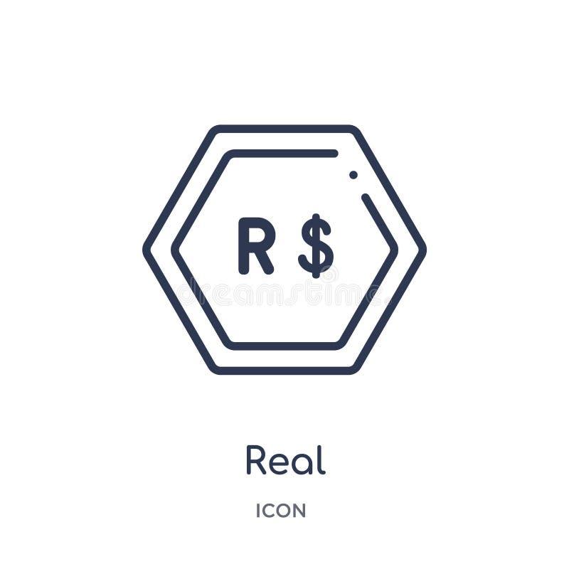 Liniowa istna ikona od Cryptocurrency gospodarki i finanse zarysowywamy kolekcję Cienieje kreskowego istnego wektor odizolowywają ilustracji