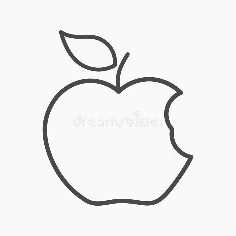 Liniowa jabłczana ikona ilustracji
