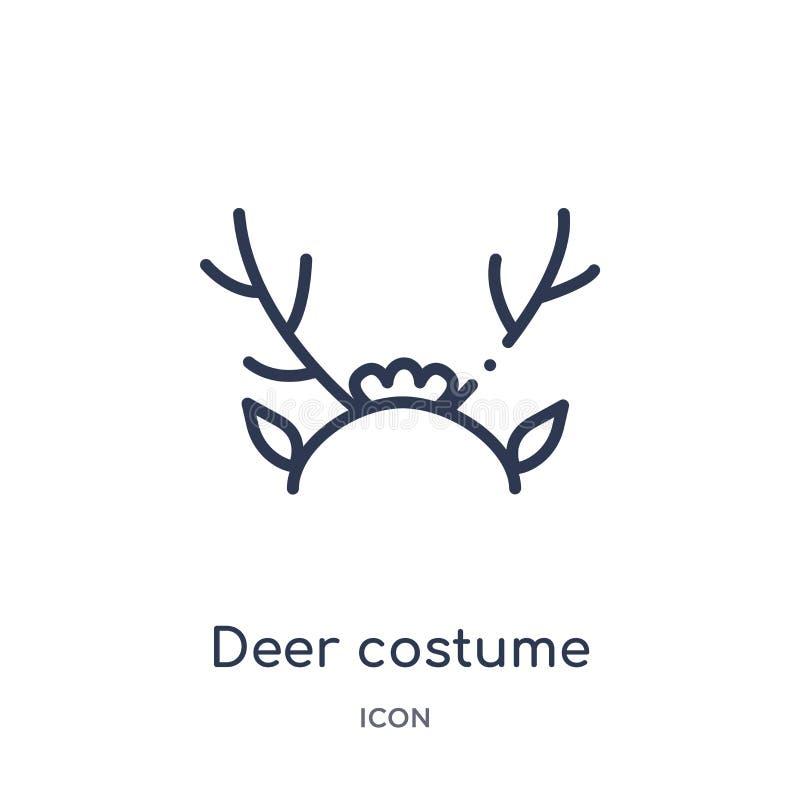 Liniowa jelenia kostiumowa ikona od bożych narodzeń zarysowywa kolekcję Cienieje kreskowego jeleniego kostiumowego wektor odizolo ilustracja wektor