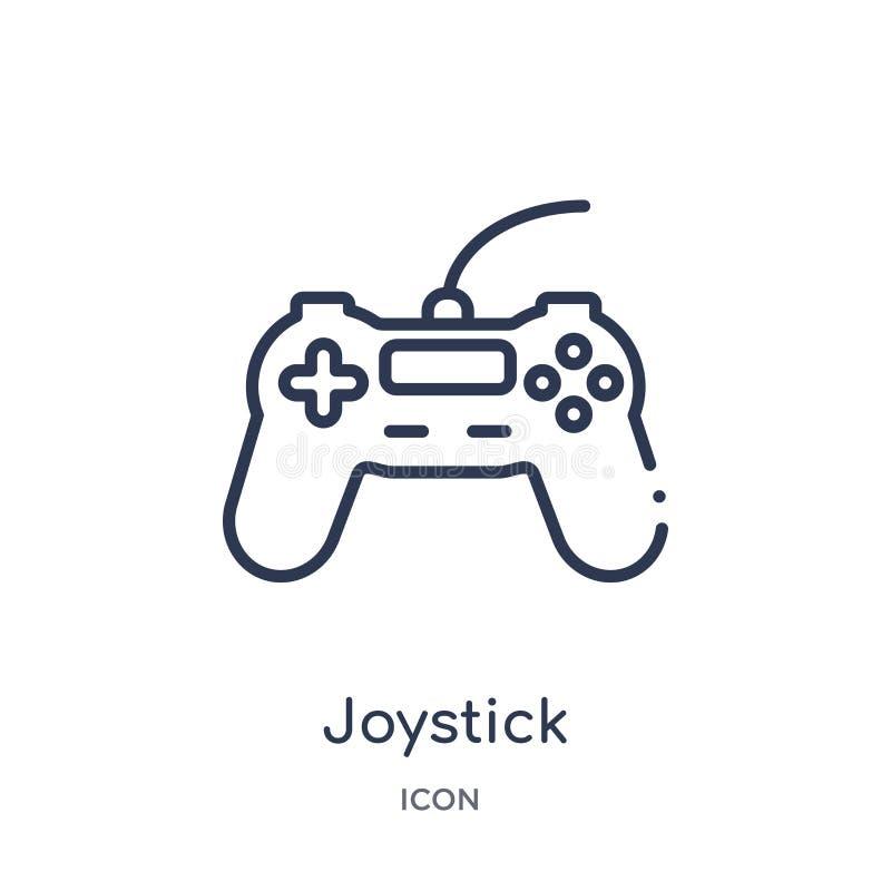 Liniowa joystick ikona od urządzenie elektroniczne konturu kolekcji Cienieje kreskowego joysticka wektor odizolowywającego na bia ilustracja wektor