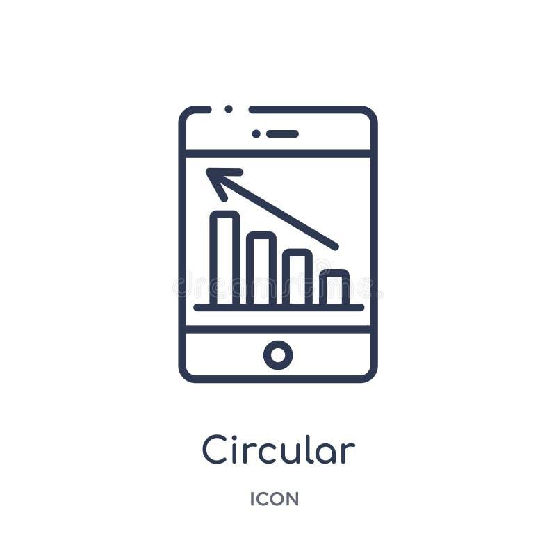 Liniowa kółkowa grafika mobilna ikona od biznesu i analityka zarysowywamy kolekcję Cienieje kreskową kółkową grafikę mobilny wekt ilustracja wektor